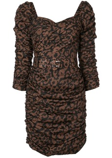 NICHOLAS gathered leopard print dress