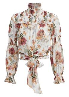 NICHOLAS Ivory Floral Print Smocked Top