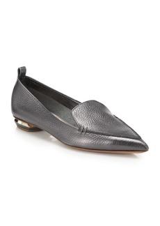 Nicholas Kirkwood Beya Metallic Leather Point-Toe Loafers
