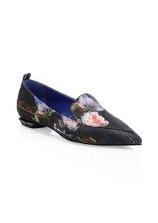 Nicholas Kirkwood Beya Satin Floral Beveled Heel Loafers