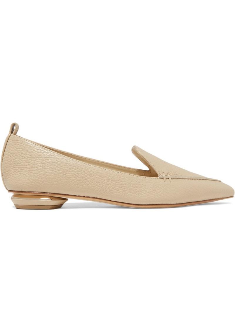 Beya Textured-leather Point-toe Flats