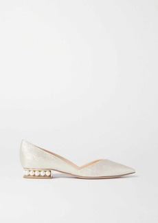 Nicholas Kirkwood Casati Faux Pearl-embellished Metallic Canvas Point-toe Flats
