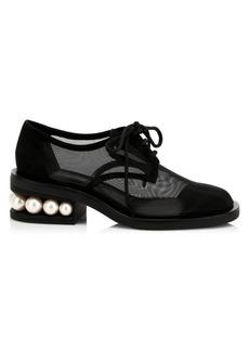 Nicholas Kirkwood Casati Faux Pearl-Embellished Mesh & Suede Derby Shoes