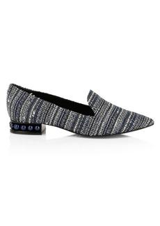 Nicholas Kirkwood Casati Faux Pearl-Embellished Tweed Loafers
