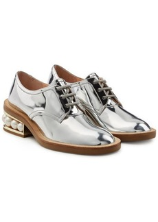 Nicholas Kirkwood Casati Metallic Leather Lace-Ups with Pearls