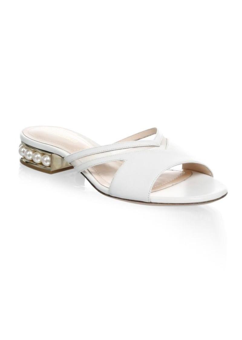 744a15eca03 SALE! Nicholas Kirkwood Casati Pearl-Embellished Leather Slip-On Sandals