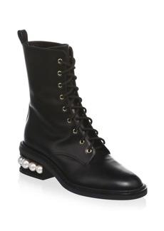 Nicholas Kirkwood Casati Pearl Leather Combat Boots