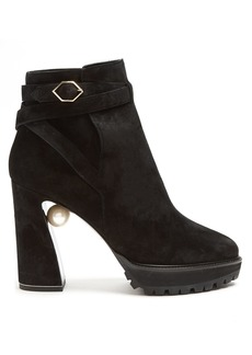 Nicholas Kirkwood Anabelle pearl-heeled suede ankle boots