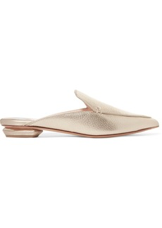 Nicholas Kirkwood Beya metallic textured-leather slippers