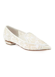 Nicholas Kirkwood Beya Orchid Embroidered Mesh Point-Toe Flat Loafers