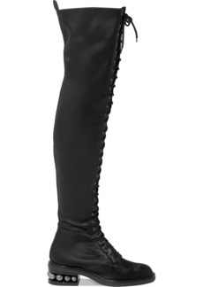 Nicholas Kirkwood Casati Embellished Stretch-satin Over-the-knee Boots