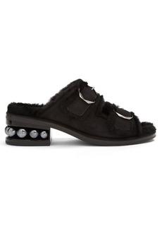 Nicholas Kirkwood Casati faux-pearl heeled suede sandals