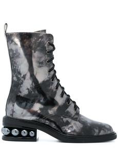 Nicholas Kirkwood Casati pearl combat boots - Grey