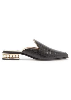 Nicholas Kirkwood Casati pearl-heel croc-effect leather loafers