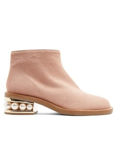 Nicholas Kirkwood Casati pearl-heeled calf-hair ankle boots