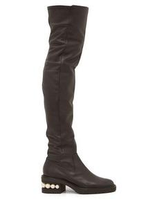 Nicholas Kirkwood Casati pearl-heeled leather over-the-knee boots