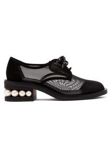Nicholas Kirkwood Casati pearl-heeled mesh derby shoes
