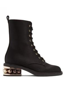 Nicholas Kirkwood Casati pearl-heeled satin-drill ankle boots