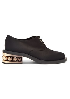 Nicholas Kirkwood Casati pearl-heeled satin-drill derby shoes