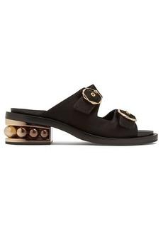 Nicholas Kirkwood Casati pearl-heeled satin-drill leather sandals