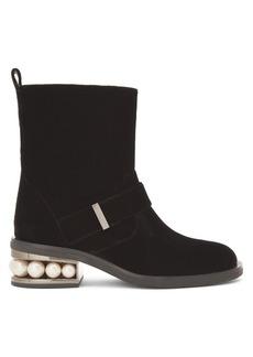 Nicholas Kirkwood Casati pearl-heeled velvet ankle boots
