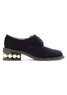 Nicholas Kirkwood Casati pearl-heeled velvet derby shoes
