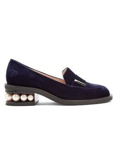 Nicholas Kirkwood Casati pearl-heeled velvet loafers