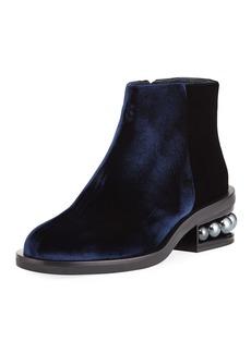 Nicholas Kirkwood Casati Velvet Pearly-Heel Ankle Boot