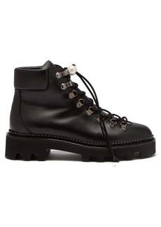 Nicholas Kirkwood Delfi faux-pearl toggle leather hiking boots