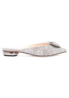 Nicholas Kirkwood Eden crystal-embellished bouclé backless loafers