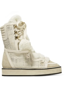 Kira leather, suede and faux shearling-trimmed tweed snow boots