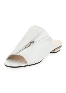 Nicholas Kirkwood Kristen Zip-Trim Leather Mule Slide Sandal - Silvertone Hardware