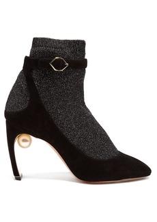 Nicholas Kirkwood Lola faux-pearl glitter-sock suede heeled pumps