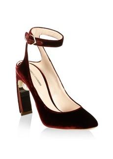 Nicholas Kirkwood Lola Pearl-Heel Velvet Ankle-Strap Pumps