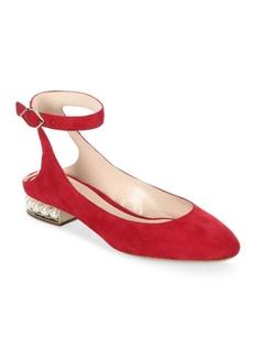 Nicholas Kirkwood Lola Pearl Suede Ankle Strap Ballet Flats