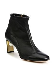 Nicholas Kirkwood Maeva Pearly Heel Leather Booties