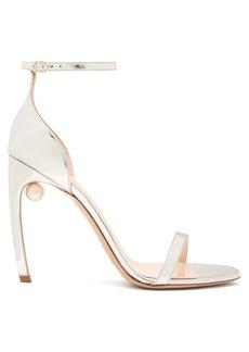 Nicholas Kirkwood Mira pearl-heeled metallic leather sandals