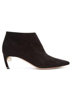 Nicholas Kirkwood Mira pearl-heeled suede ankle boots