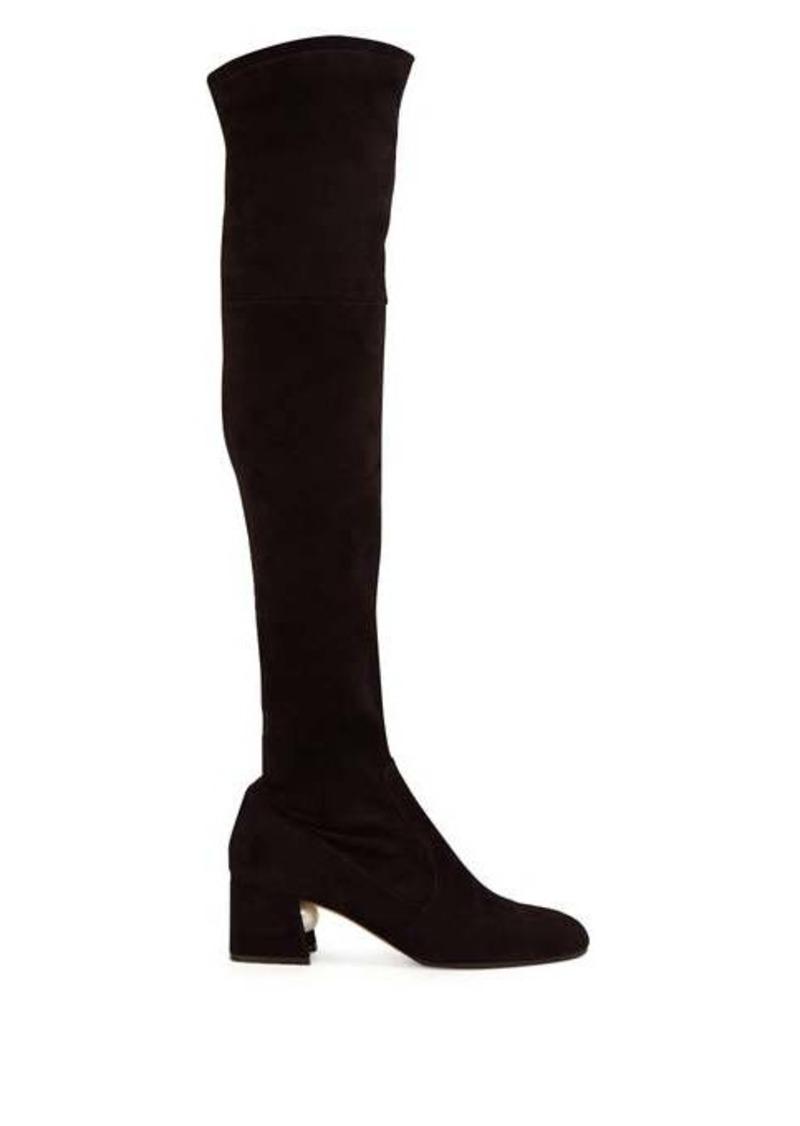 Nicholas Kirkwood Miri faux pearl-embellished suede knee-high boots