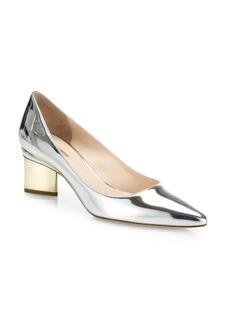 Nicholas Kirkwood Prism Heel Metallic Leather Pumps