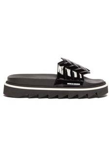 Nicholas Kirkwood Rina quilted patent-leather slides