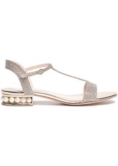 Nicholas Kirkwood Woman Casati Faux Pearl-embellished Lurex Sandals Platinum