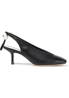Nicholas Kirkwood Woman Delfi Faux Pearl-embellished Leather Slingback Pumps Black