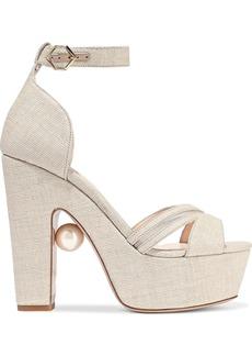 Nicholas Kirkwood Woman Faux Pearl-embellished Mesh-trimmed Coated Raffia Platform Sandals Neutral