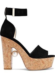 Nicholas Kirkwood Woman Faux Pearl-embellished Suede And Cork Platform Sandals Black
