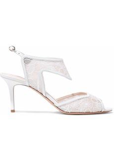 Nicholas Kirkwood Woman Leda Leather-trimmed Embroidered Mesh Slingback Sandals White