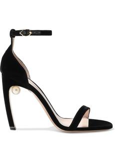 Nicholas Kirkwood Woman Maeva 105 Faux Pearl-embellished Velvet Sandals Black