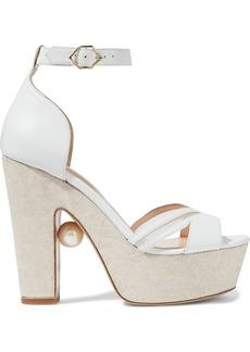 Nicholas Kirkwood Woman Maya Embellished Leather Platform Sandals White