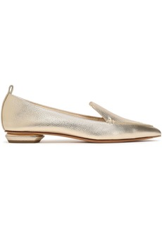 Nicholas Kirkwood Woman Metallic Textured-leather Slippers Platinum