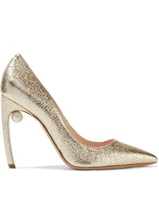Nicholas Kirkwood Woman Mira 105 Embellished Metallic Cracked-leather Pumps Platinum